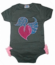 Baby Glam Long Sleeve Heart Wings Couture Onesie