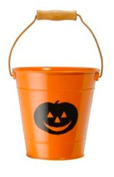Enamel Halloween Treat Bucket - Pumpkin Orange