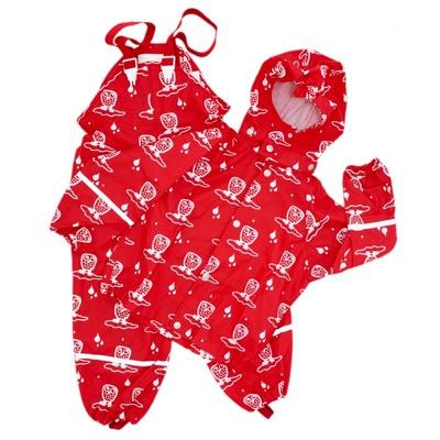 Ej Sikke Lej Rainwear Coat and Trouser Set in red