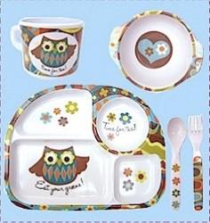 ollie owl gift set melamine dinnerware
