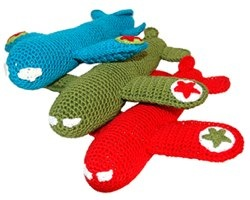crocheted aeroplane rattle