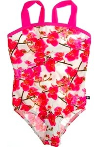 Pink orchids print Barbie swimming suit by Wild