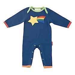 TOBY TIGER Organic Applique Sleepsuit with Shooting Star
