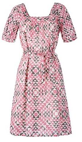 People Tree Square Neck Geometric Print Dress