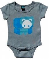 glug collection grey hippo baby vest