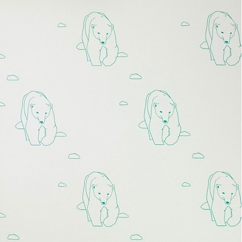 Polar Bear Wallpaper  by turner Pocock in collaboration with artist Catherine Cazalet.