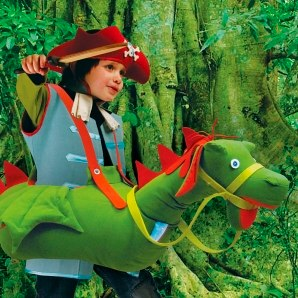 Dragon dressing-up costume in green canvas by Savo & Pomelina