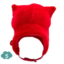 Kik Kid red teddy fur baby hat