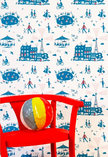Famille Summerbelle Paris Wallpaper blue & red