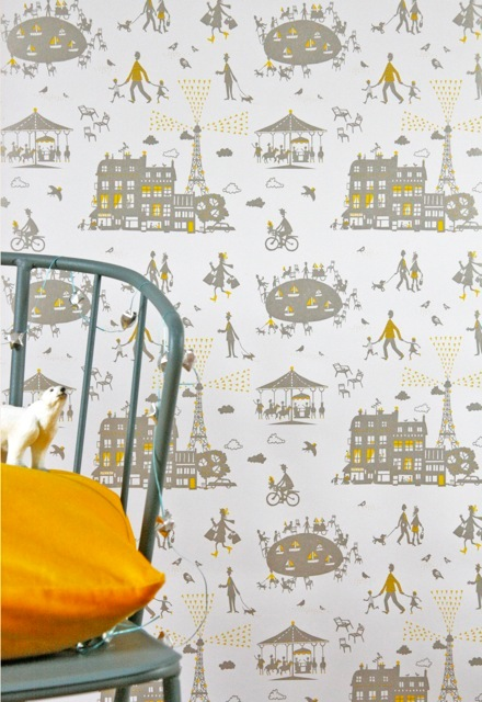 Famille Summerbelle Paris Wallpaper yellow & silver