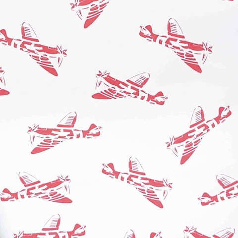 'Spitfires' children's wallpaper white & red by Paperboy