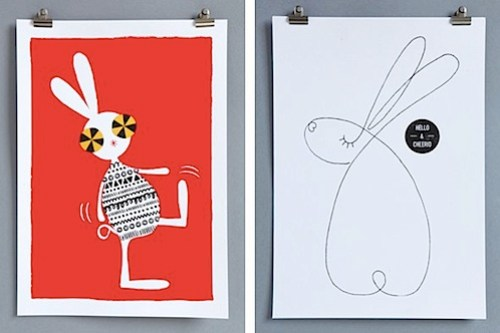 Superfrank Creature Collective Walking Rabbit and Hello & Cheerio prints