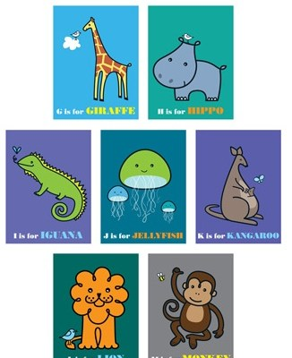 Hot! Made with Love by Mrs Booth animal alphabet prints