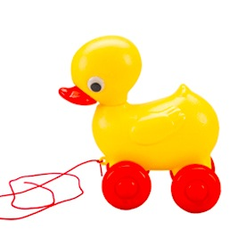 Duck on wheels pull along toy