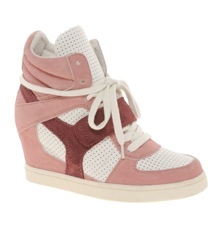 Ash Cool Suede Colourblock Pink Strapped Wedge Trainers