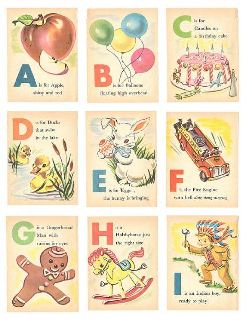 Vintage Illustrated Alphabet Flash Cards