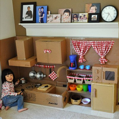 Make Your Own Inspiration: Cardboard pretend play kitchen