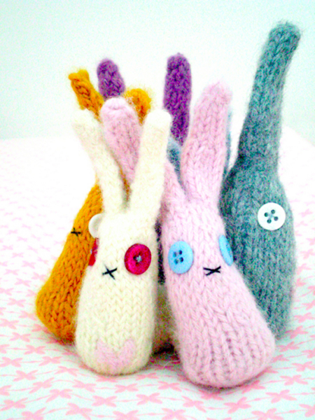 Rabbits knitting pattern, Mollie Makes