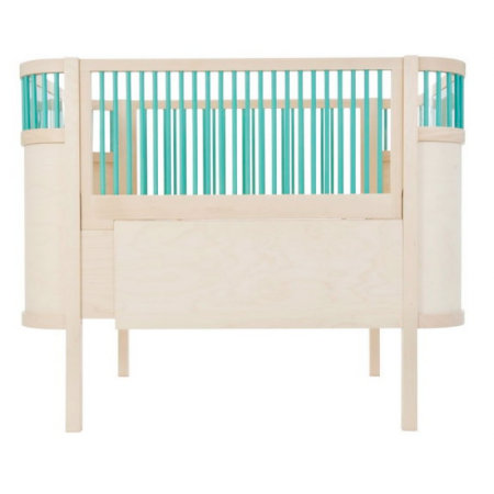 Sebra Kili Cot Bed Natural with Turquoise Bars