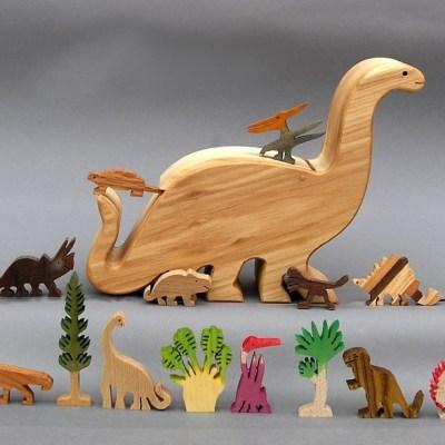 Ark and Animals Wooden Dinosaur story box