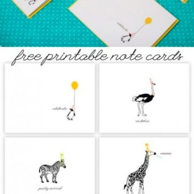 Free printable: Party Animal note cards by Caravan Shoppe