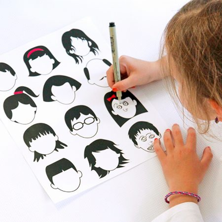 Blank faces drawing page by Babbles & Dabbles