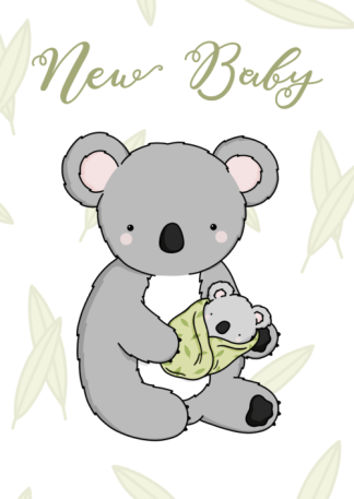 green baby koala card by phoebe steel art