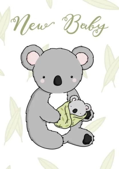 green baby koala card by phoebe steel art