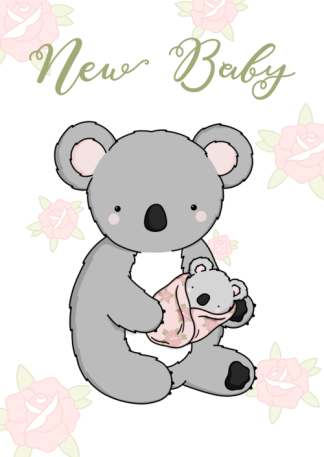 pink baby koala card by phoebe steel art