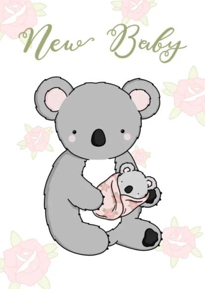 pink baby koala card by phoebe steel art