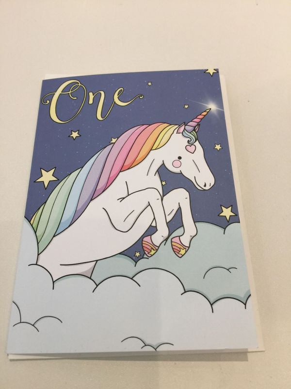 first birthday unicorn card by phoebe steel art