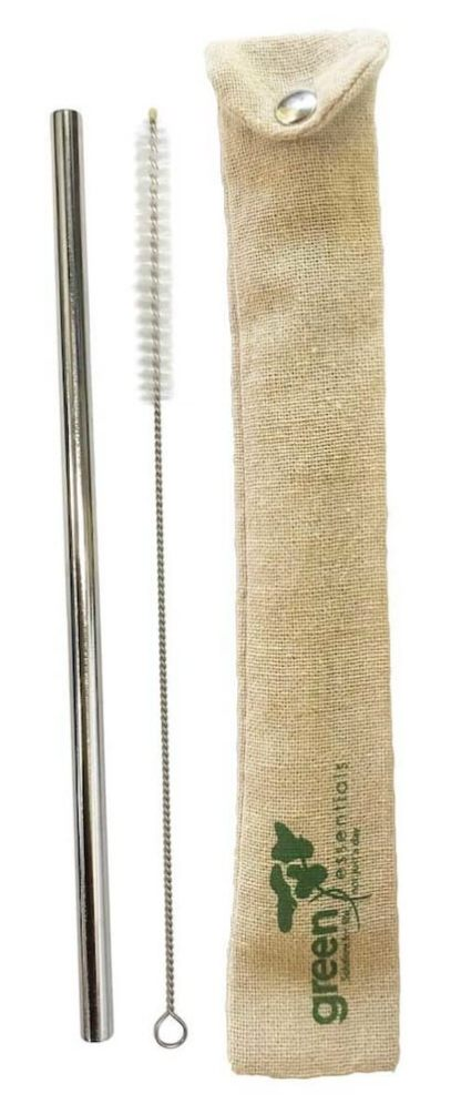 brush stainless steel straw and pouch
