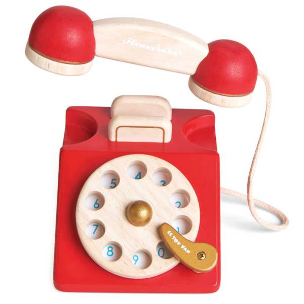 le toy van vintage wooden telephone