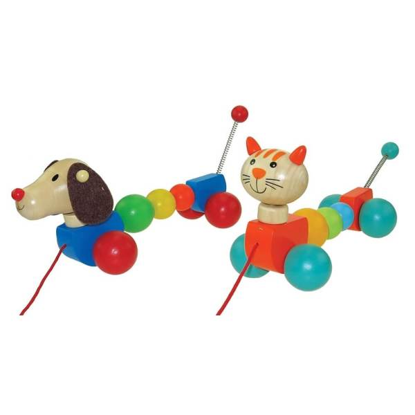 dog or cat pulla long wooden toy