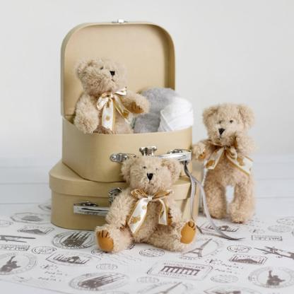 william brown jointed bear with suitcase