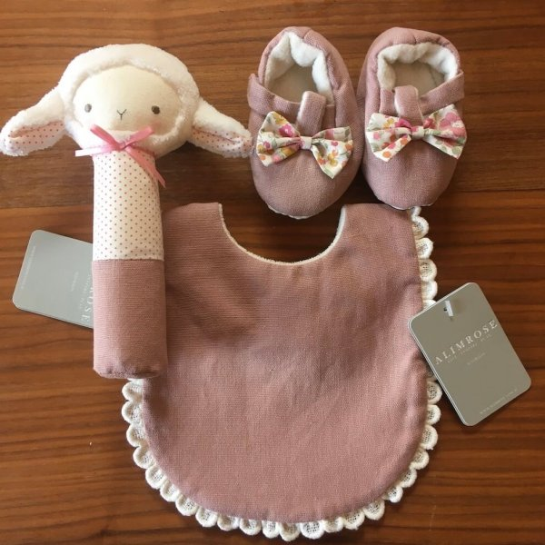 lamb squeaker rose bib and booties
