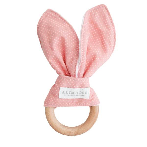 pink with white spot bunny ear teether