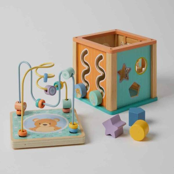 wooden shapes and activity box