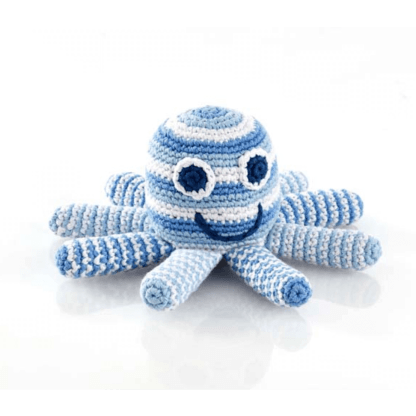 blue pebble crochet rattle octopus