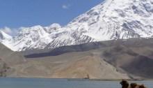 Der Karakul-See als einsame Idylle mit Kamel