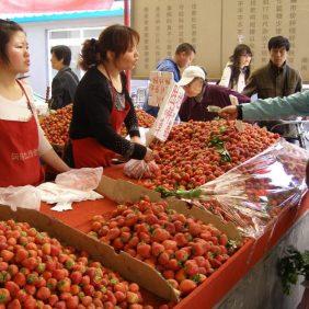 Auf dem Markt in Peking Erdbeeren