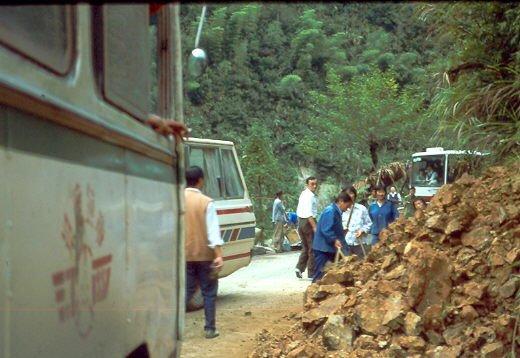 Busfahrten durch China Bauarbeiten