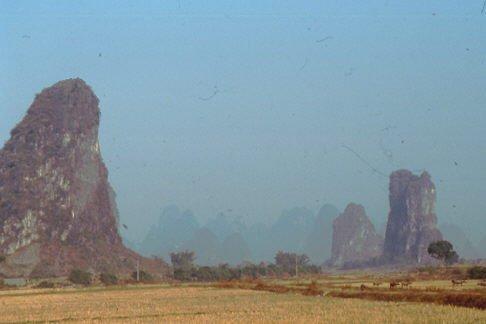 Die Krastkegelberge im Sonnenlicht Yangshuo 1987