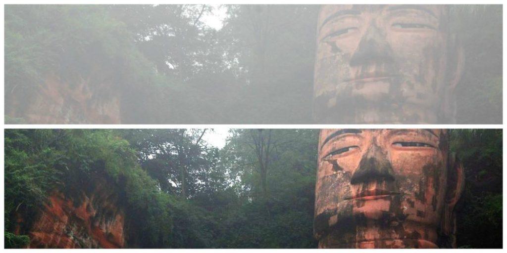 Mit ein wenig Bearbeitung kann man das Gesicht des Buddha mit seiner ganze Ruhe und dem milden Lächeln erst richtig erkennen