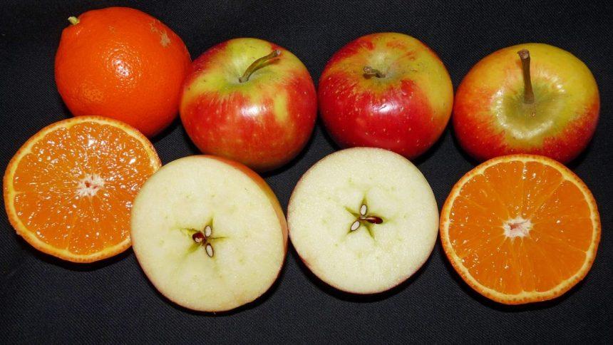 Apfel und Apfelsine