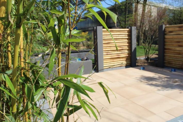 Bambus Sichtschutz Zaun horizontal waagerecht CONBAM