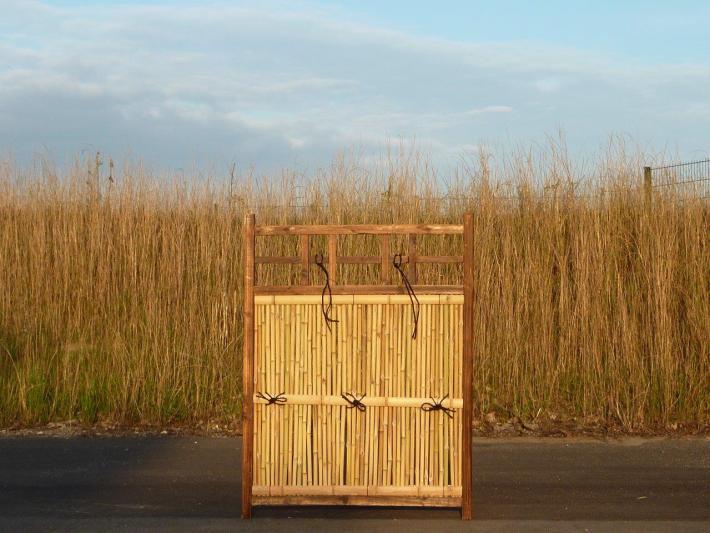 Sichtschutz Bambuszaun japanisch Element mit Holzrahmen Bambushandel CONBAM