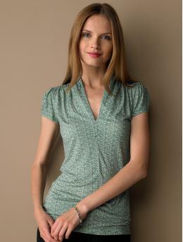 Graphic print shawl neck top