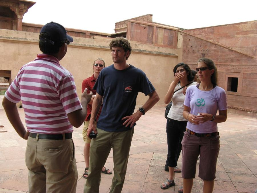 Taking the help of tour guide