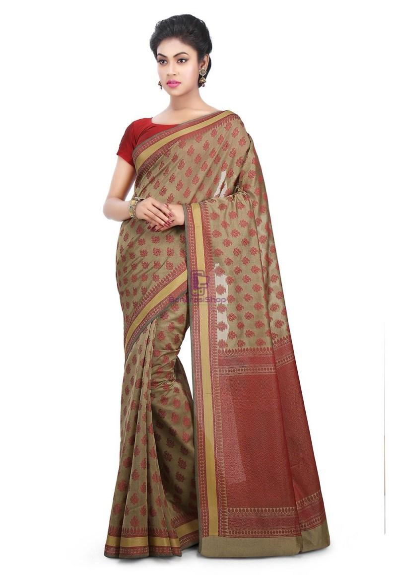 Woven Banarasi Art Silk Saree in Beige 1